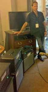 Jeff Bober with his East amps. The 2-watt is the combo nearest to him. SICK! (Click to see it way bigger.)