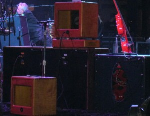 Santana's speaker setup. From the VG interview, it sounds like the two flame maple 4x12 Mesa cabs you see on the left have been replaced by PRS cabs. (Click to see way bigger.)