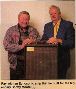 Ray Butts (L) with Scotty Moore and the Echosonic amp. (GP photo, click to see bigger.)