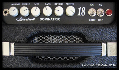 The Dominatrix 18's controls (Goodsell Amplifiers photo).